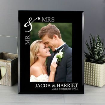 Personalised 7x5 SILVER COUPLE Photo Frame Mr&Mrs Mr&Mr Mrs&Mrs