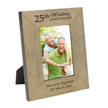 Personalised 7x5 ANNIVERSARY Wooden Photo Frame