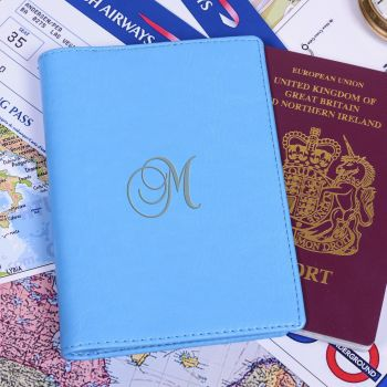 Personalised Faux Leather INITIAL PASSPORT COVER Passport Holder + Card Slots