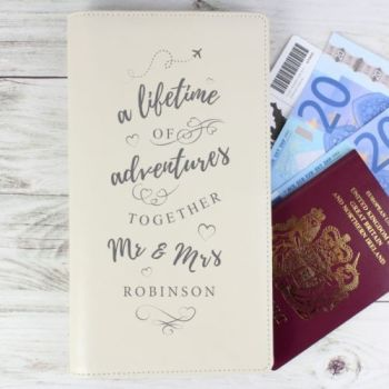 Personalised MR & MRS TRAVEL DOCUMENTS HOLDER Passport Passes Boarding card