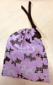 Handmade DOG TREATS BAG - Pink & Black Scottie Dogs