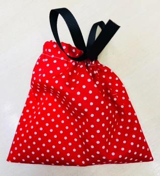 Handmade DOG TREATS BAG - Red & White Spots
