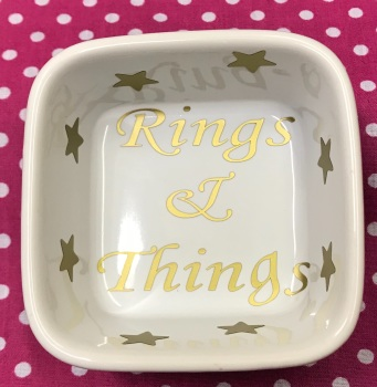Personalised White RINGS & THINGS DISH Friend Wedding Engagement Anniversary Bridesmaid