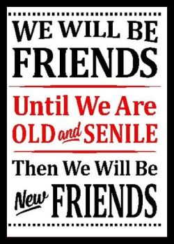 Friends Til We Are Old & Senile - Printed Typography Quote