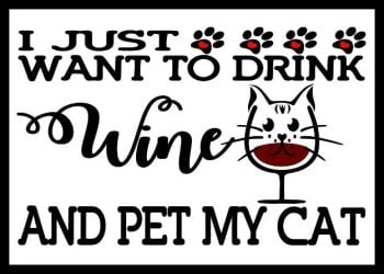 I Just Want To Drink Wine & Pet My Cat Printed Typography Quote