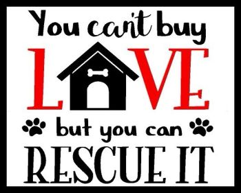 Can't Buy Love But You Can Rescue It - Printed Typography Quote