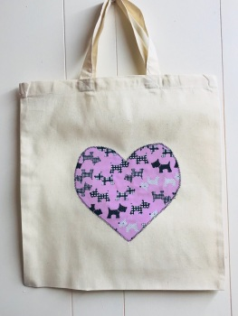 Handmade Cotton Shopping Bag with Applique Heart - Scottie Dogs