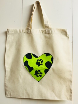 Handmade Cotton Shopping Bag with Applique Heart - Paw Prints