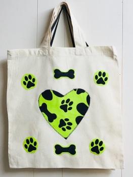 Cotton Shopping Bag with Applique Heart - Paw Prints & Bones