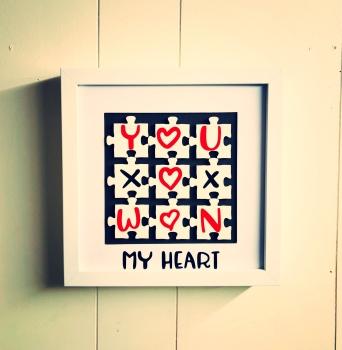 Handmade YOU WON MY HEART Jigsaw Frame Anniversary, Love, Valentines Gift