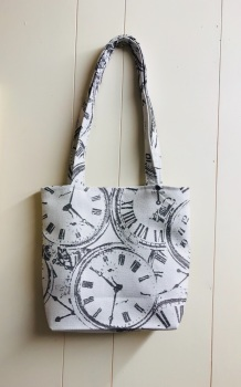 Handmade Lined Ladies Shoulder Bag, Clock Faces Tote Bag