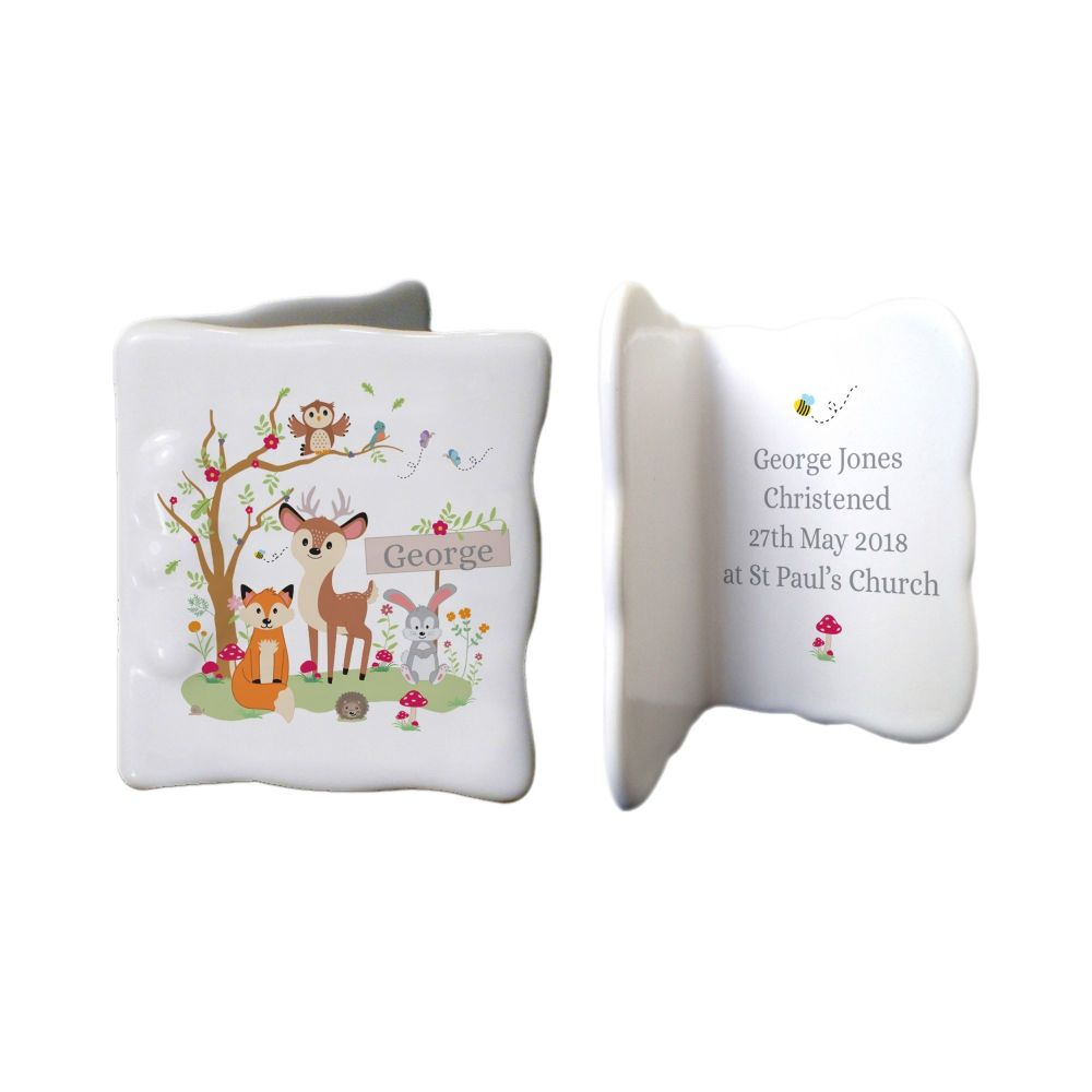Personalised WOODLAND ANIMALS China Keepsake Message Card
