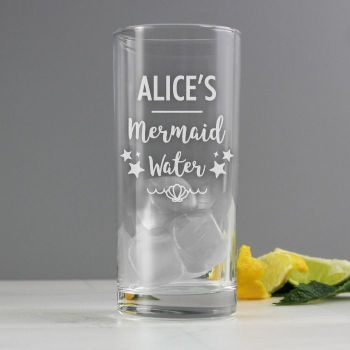 Personalised Mermaid Water Glass Hi-Ball Glass