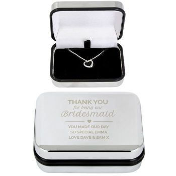 Personalised Bridesmaid Keepsake Box & Heart Necklace