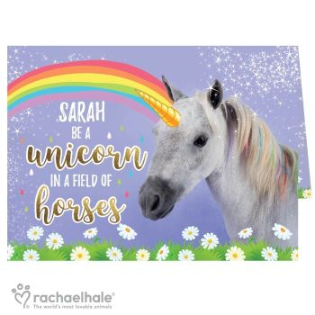 Personalised Rachael Hale Be A Unicorn In a Field Of Horses Card