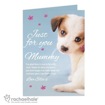Personalised Rachael Hale Just For You Puppy Card