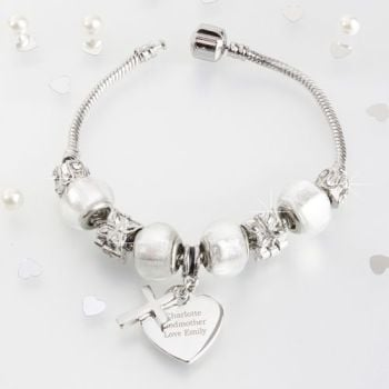 Personalised 18/21cm Cross Charm Bracelet
