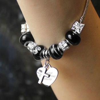 Personalised 18/21cm Cross Charm Bracelet