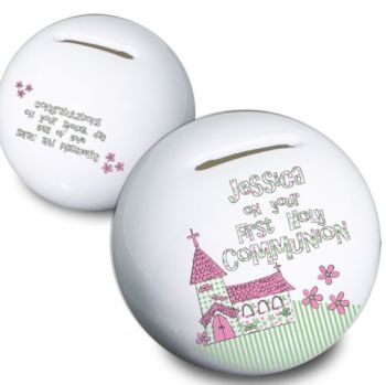 Personalised China Pink Church Money Box