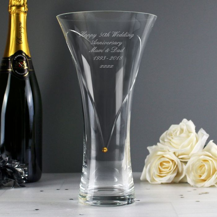 Personalised Infinity Heart Vase Made With Gold Swarovski Elements