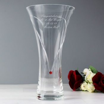 Personalised Infinity Heart Vase Made With Ruby Swarovski Elements