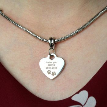Personalised Pawprints Heart Necklace