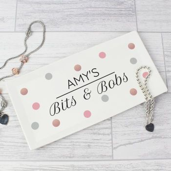 Personalised Spotty Bits & Bobs Ceramic Trinket Tray