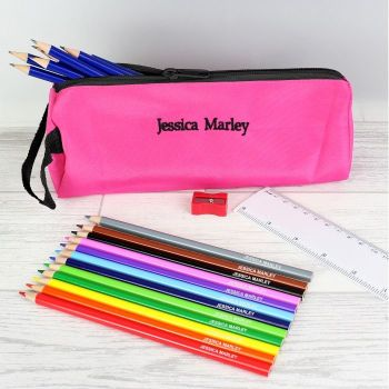 Personalised Back to School Pencil case, Personalised Pencils, Ruler & Sharpner - Pink