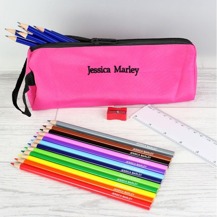 Personalised Back to School Pencil case, Personalised Pencils, Ruler & Shar