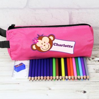 Personalised Back to School Pencil Case - Pink Monkey