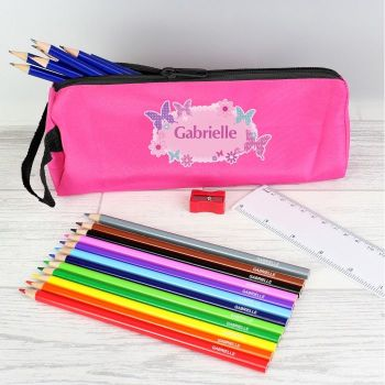 Personalised Back to School Pencil Case - Pink Butterfly