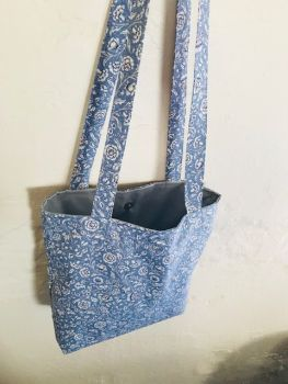 Handmade Lined Blue & White Floral Long Strap Tote Bag