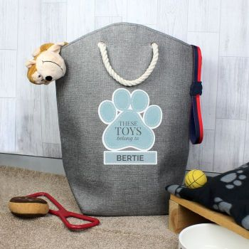 Personalised Blue Paw Print Storage Bag