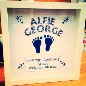 Handmade Glitter Feet New Baby Frame (alternate colours available)