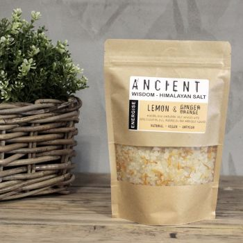 Himalayan Bath Salt Blend 500g -Energise: Lemon, Ginger & Orange Essential Oils + Avocado Oil