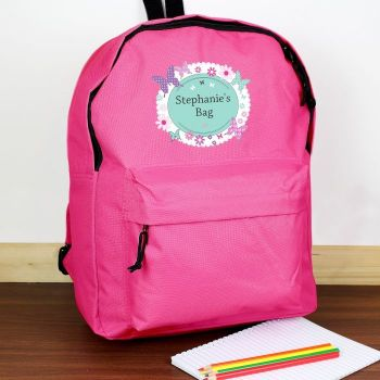 Personalised BUTTERFLIES Theme School Bag / Rucksack