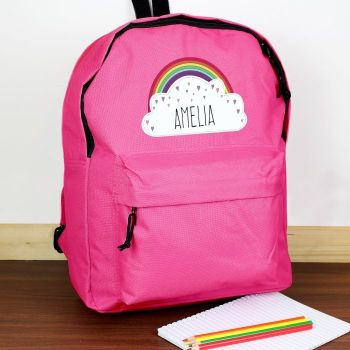 Personalised RAINBOW Theme School Bag / Rucksack