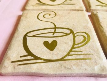 Steaming Cup Rustic Tile Coaster(s)
