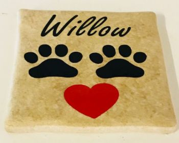 Add Your Dog's Name Personalised Rustic Tile Coaster(s)