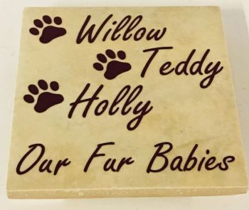 Personalised Fur Babies Add Your Dogs Names Rustic Tile Coaster(s)