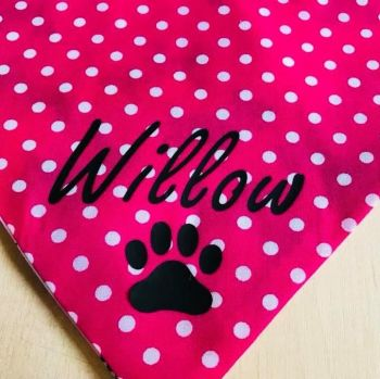 Handmade Adjustable PERSONALISED Reversible Pink Spotty Dog Bandana - Various Sizes