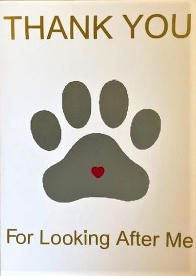 Thank You For Looking After Me Pawprint Card - Handmade Greeting Card