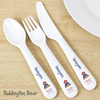Personalised Paddington Bear For Baby 3 Piece Plastic Cutlery Set