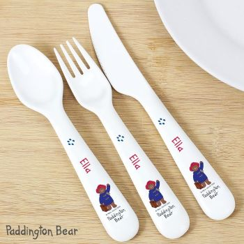 Personalised Paddington Bear 3 Piece Plastic Cutlery Set