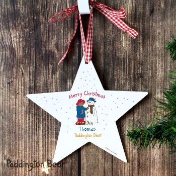 Personalised Paddington Bear Christmas Wooden Star Decoration