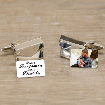 Personalised When..Met Daddy - Photo & Name Envelope Cufflinks