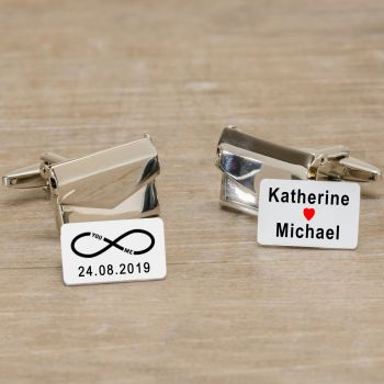 Personalised You & Me Infinity Envelope Cufflinks