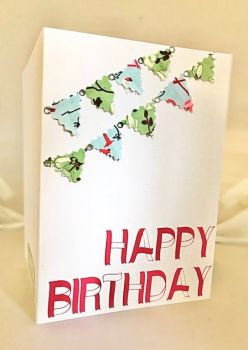 Happy Birthday Fabric Bunting Card - Handmade Greeting Card