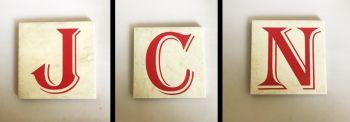Monogram Initial Rustic Tile Coaster(s)