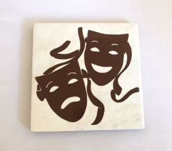 Tragedy & Comedy Masks Rustic Tile Coaster(s)